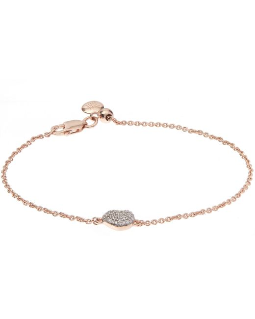 Monica Vinader - Metallic Nura Rose Gold Mini Heart Bracelet - Lyst