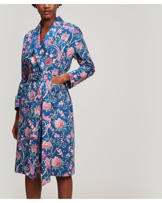 Liberty Blue Elysian Paradise Tana Lawn Cotton Long Robe