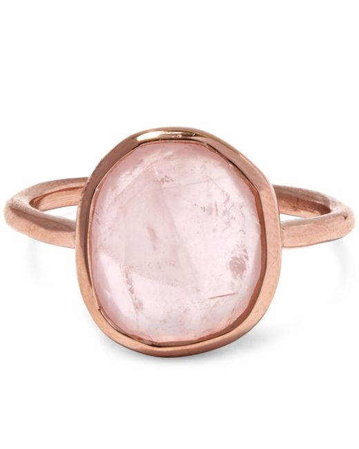Monica Vinader - Multicolor Rose Gold Vermeil Siren Medium Rose Quartz Stacking Ring - Lyst