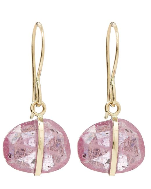 Melissa Joy Manning - Metallic Gold Single Gemstone Drop Pink Sapphire Earrings - Lyst