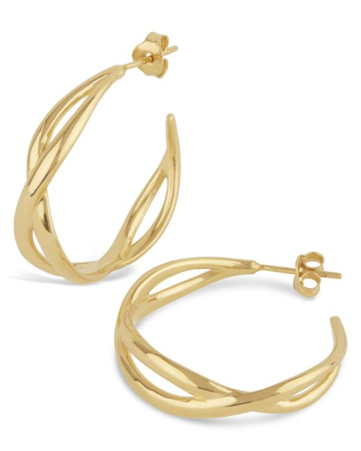 Dinny Hall - Metallic Gold Twist Small Open Hoop Earrings - Lyst