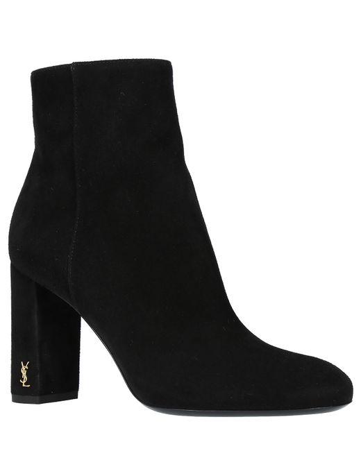 Saint Laurent Black Loulou 95 Suede Ankle Boots