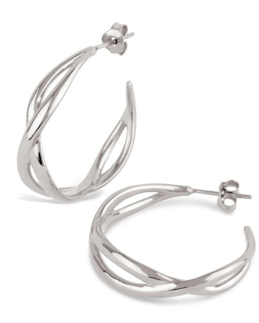 Dinny Hall | Metallic Silver Twist Small Open Hoop Earrings | Lyst