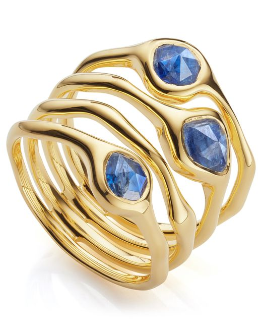 Monica Vinader - Metallic Gold Vermeil Siren Cluster Kyanite Cocktail Ring - Lyst