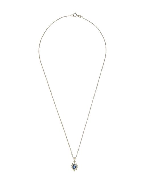 Kojis - Metallic White Gold Diamond Sapphire And Diamond Cluster Pendant Necklace - Lyst