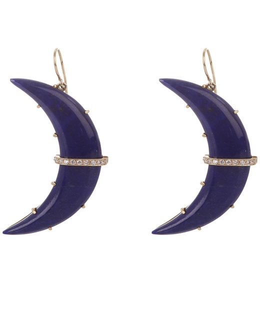 Andrea Fohrman   Metallic Gold Crescent Moon Lapis Lazuli And Diamond Large Drop Earrings   Lyst