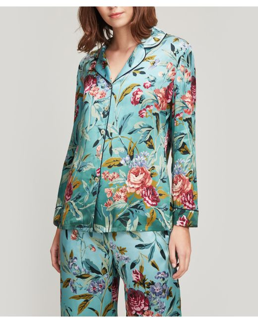 Liberty Green Desert Rose Silk Satin Pyjama Set