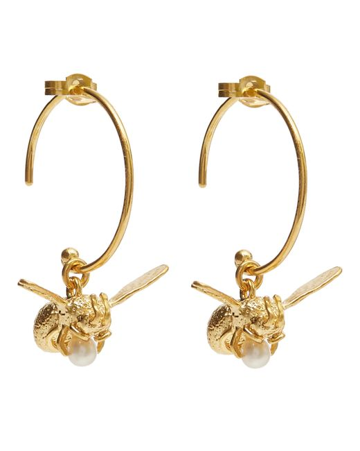 Alex Monroe - Metallic Gold-plated Flying Bee Pearl Hoop Earrings - Lyst