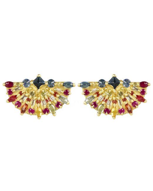 Polly Wales   Metallic Gold Pinched Rainbow Sapphire Fan Earrings   Lyst