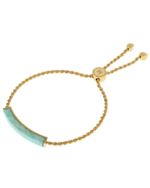 Monica Vinader - Metallic Gold-plated Linear Amazonite Stone Chain Bracelet - Lyst