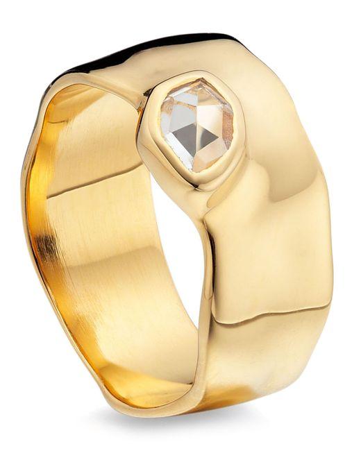 Monica Vinader - Metallic Gold Vermeil Siren White Topaz Wide Band Ring - Lyst