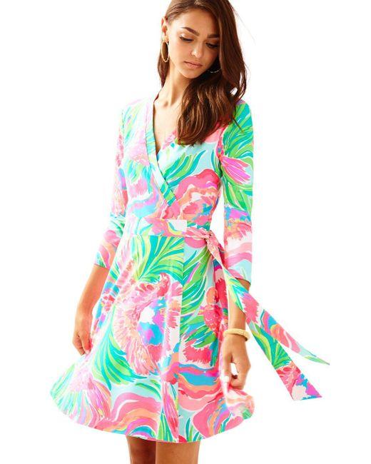 Lilly Pulitzer | Blue Emilia Wrap Dress | Lyst
