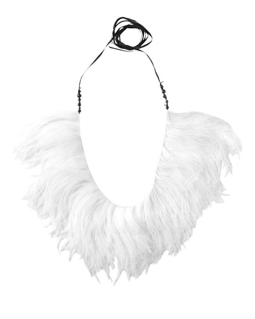 Ann Demeulemeester - White Ostrich Feathers Necklace - Lyst