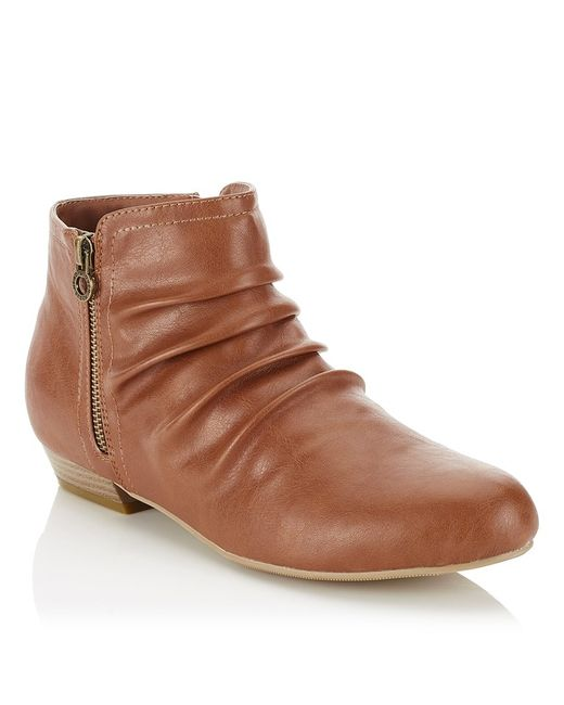 dune side zip detail ankle boots in brown lyst