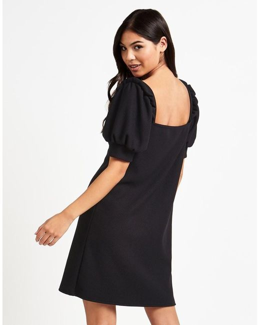 Fashion Union Textured Jersey Shift Dress In Black Lyst