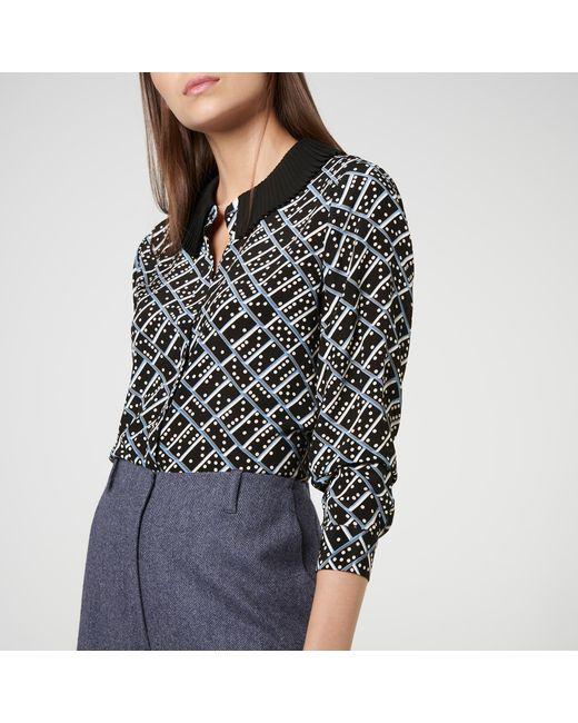 e5116ecec6544 ... L.K.Bennett - Black Lotte Domino Print Silk Blouse - Lyst ...