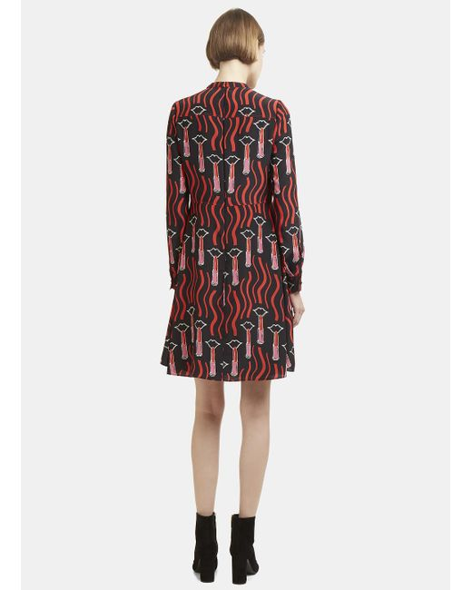 Lipstick Print Dress in Black Valentino