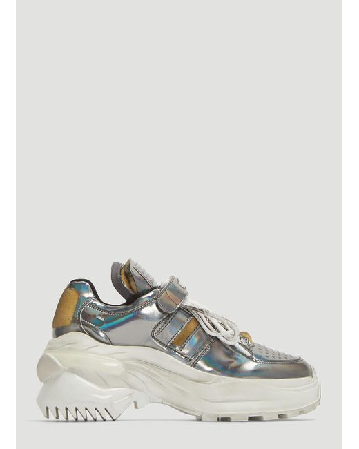 new arrival 5cdd6 e7780 Maison Margiela - Metallic Fly-eye Retro Fit Leather Sneakers In Silver -  Lyst ...