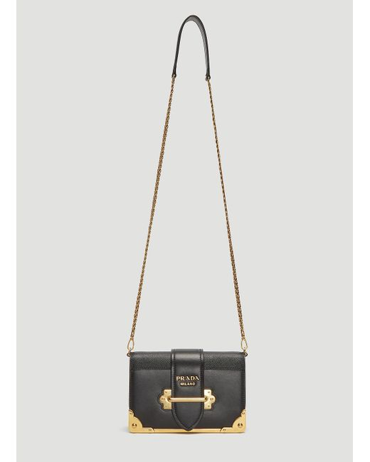 Prada - Mini Cahier Shoulder Bag In Black - Lyst