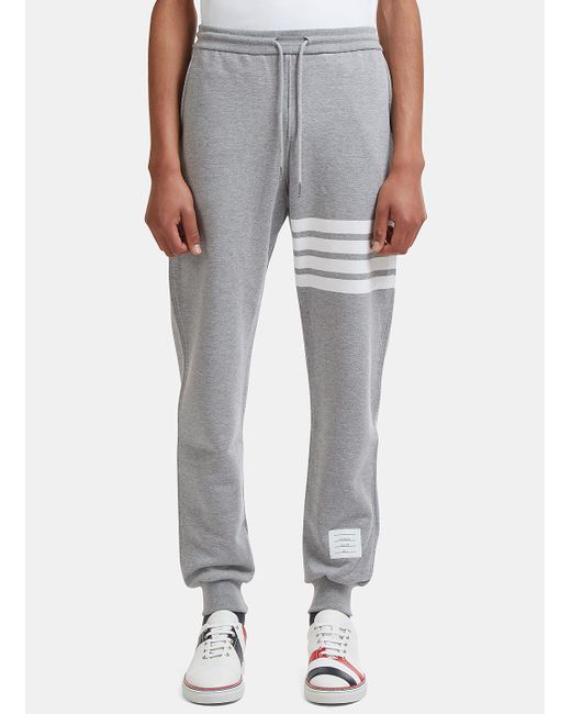 Thom Browne | Gray Men's 4 Bar Jersey Track Pants In Grey for Men | Lyst