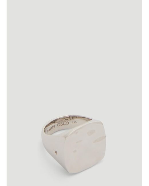 Tom Wood Metallic Wavy Square Ring In Silver for men
