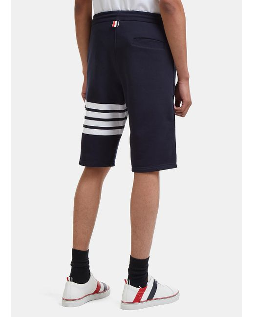 4 Bar Striped Loopback Jersey Shorts Thom Browne
