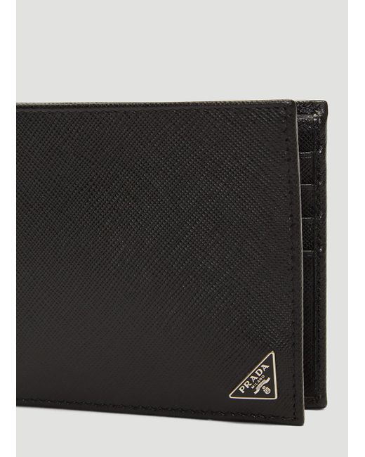 5cfd9080ebfb ... Prada - Saffiano Leather Bi-fold Wallet In Black for Men - Lyst ...