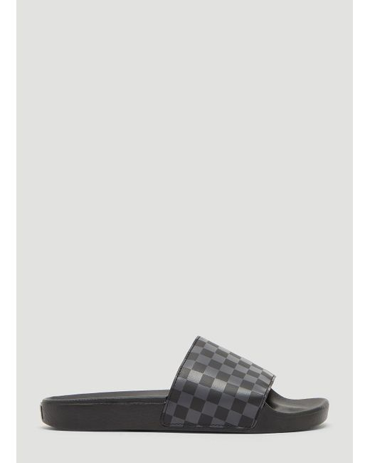 Vans Checker Slides In Black in Black for Men - Save 48% - Lyst b666c5fb205