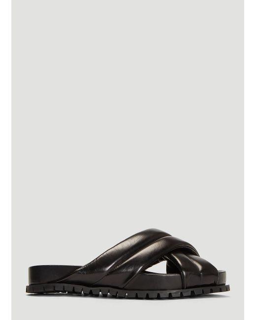 87e900e8cd7b43 Lyst - Jil Sander Padded Leather Sliders In Black in Black for Men ...