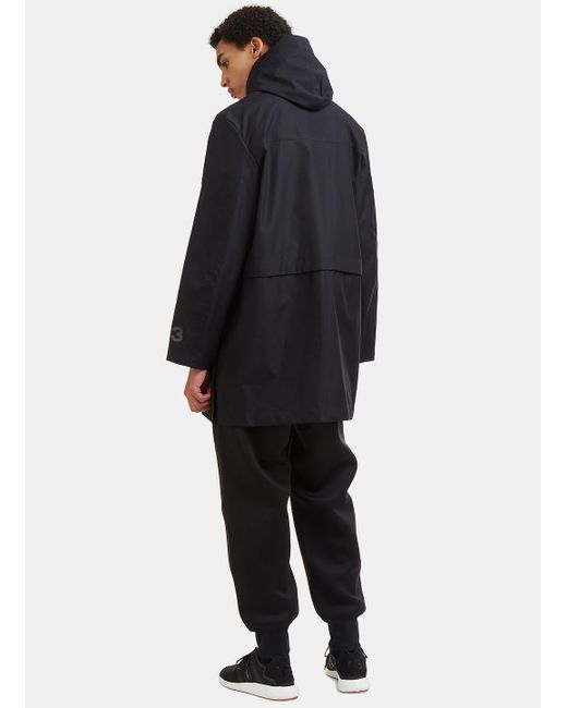 Y-3 Mid-length Technical Rain Jacket In Black in Black for Men | Lyst