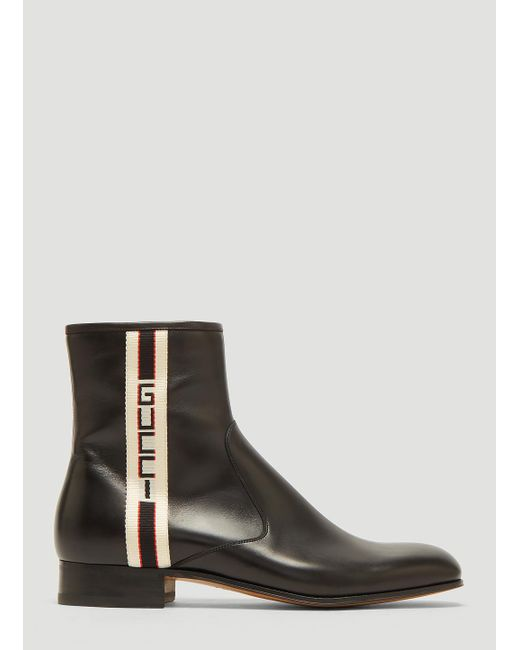 451d65a4416 Lyst - Gucci Stripe Leather Boots in Black for Men - Save 58%