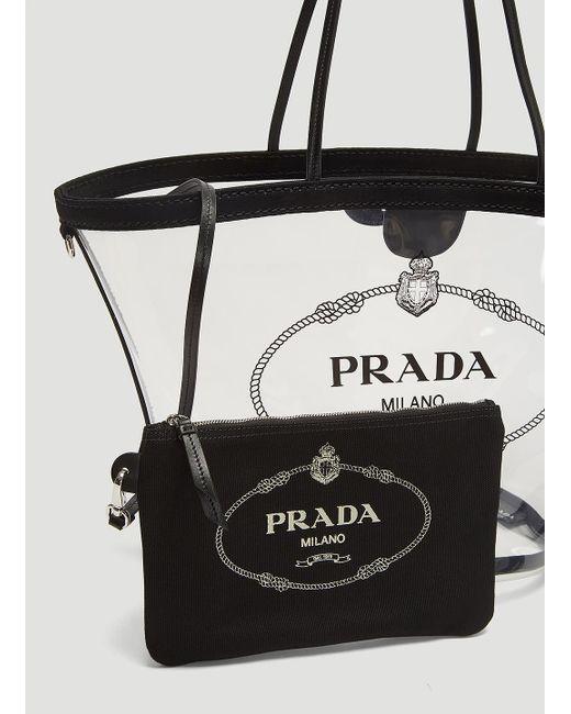 ac8fe01b32f4 ... Prada - Multicolor Transparent Tote Bag In Clear - Lyst ...