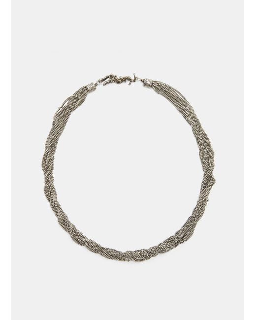 Saint Laurent | Metallic Loulou Twisted Chain Choker Necklace In Silver | Lyst