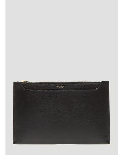 5bfdcd6dc55 Lyst - Saint Laurent Catherine Leather Pouch In Black in Black