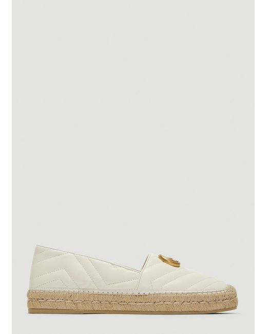 Gucci - White Leather Espadrille With Double G - Lyst
