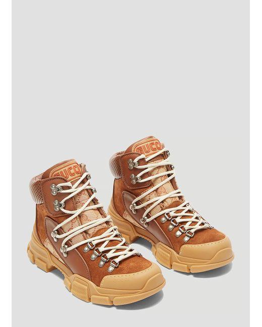 0dfe3cfa5 Gucci Flashtrek GG High-top Sneaker In Brown in Brown - Lyst
