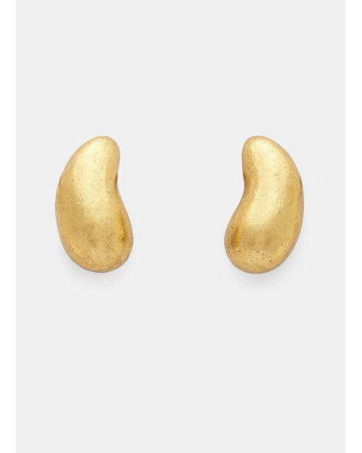 Monies | Metallic 24947 Warped Acacia Gold Leaf Pebble Clip-on Earrings In Gold | Lyst