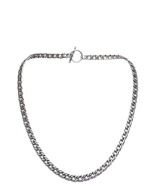 Saint Laurent | Metallic Men's Short Double Curb Chain Necklace In Oxidised Silver for Men | Lyst