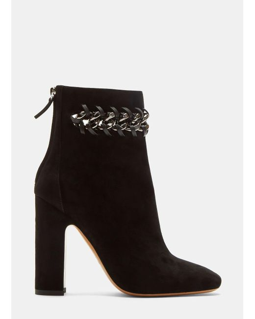 Valentino | Whip Stitched Chain Suede Ankle Boots In Black | Lyst