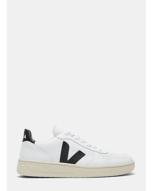 Veja | Men's V-10 Mid-top Leather Sneakers In White for Men | Lyst