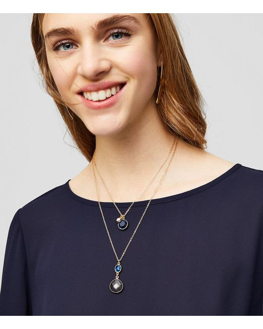 LOFT - Metallic Double Stone Pendant Layering Necklace Set - Lyst