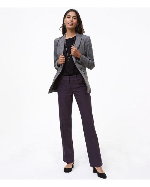 LOFT | Blue Trousers In Button Pocket Tweed In Marisa Fit | Lyst