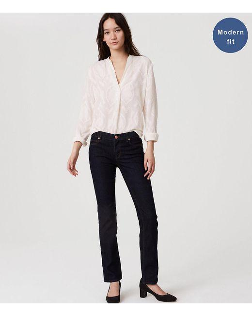LOFT - Blue Petite Modern Straight Leg Jeans In Dark Rinse Wash - Lyst
