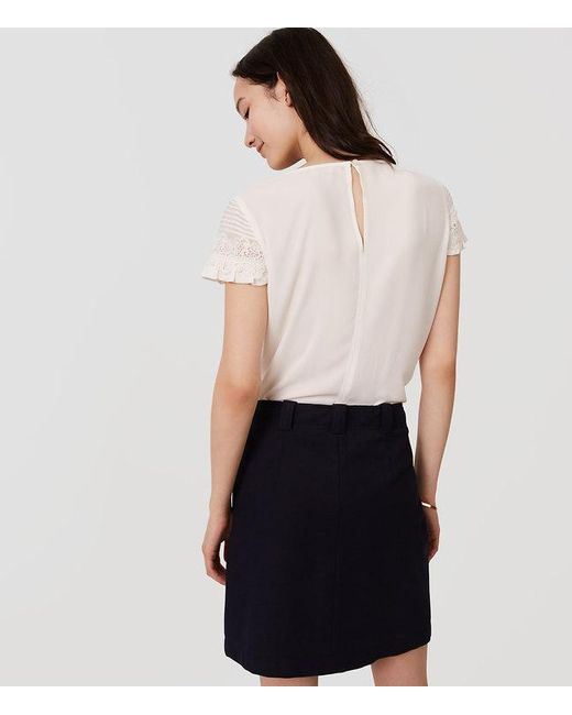 Loft Petite Pintucked Lace Ruffle Top In White Lyst
