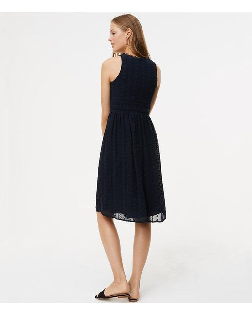 Loft Circle Lace Embroidered Flare Dress In Blue Lyst