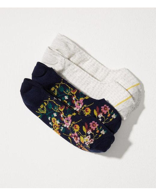 LOFT | Multicolor Floral & Chevron No Show Sock Set | Lyst