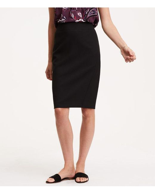 LOFT | Black Petite Curvy Seamed Scuba Pencil Skirt | Lyst