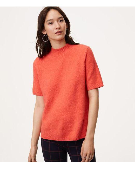 Loft Petite Mockneck Short Sleeve Sweater in Orange | Lyst