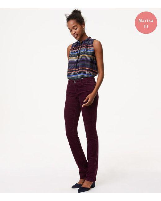 LOFT   Purple Petite Modern Straight Leg Corduroy Pants   Lyst