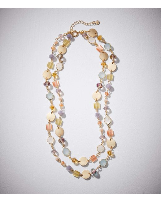 LOFT - Metallic Double Strand Stone Disc Necklace - Lyst
